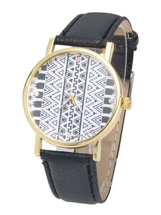 women Geometric Print Watch - BLACK
