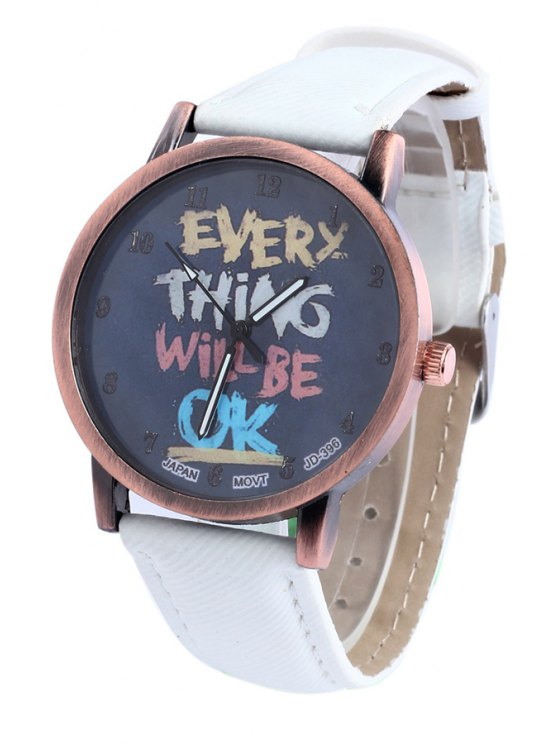 best Letter Print Face Watch - WHITE