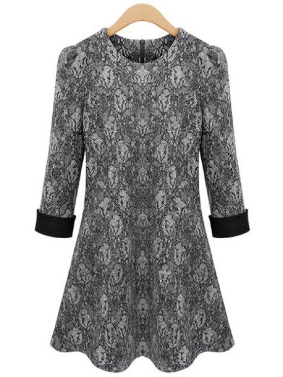 lady Lace 3/4 Sleeve A-Line Dress - GRAY XL