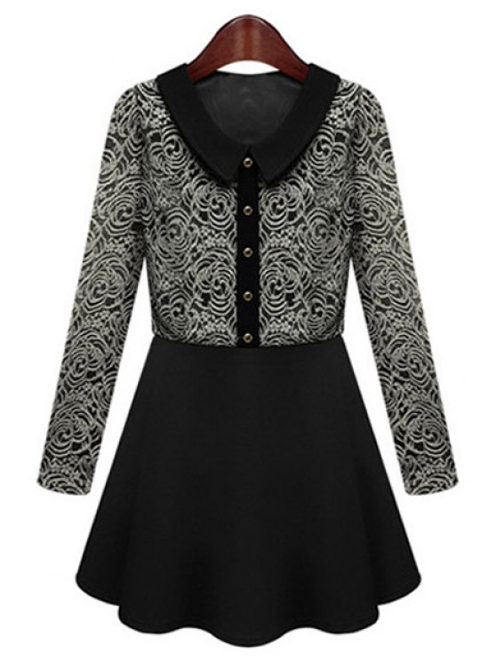 buy Peter Pan Collar Lace Splicing Dress - BLACK S