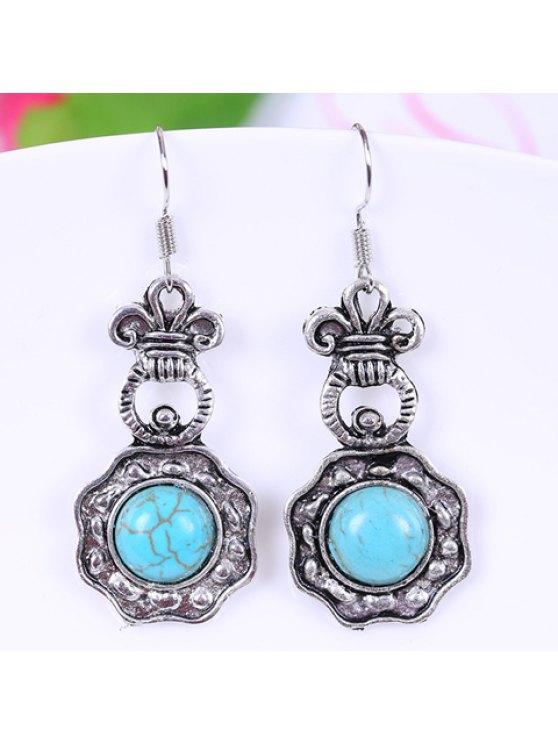 hot Pair of Retro Kallaite Geometric Pendant Earrings For Women - LAKE BLUE
