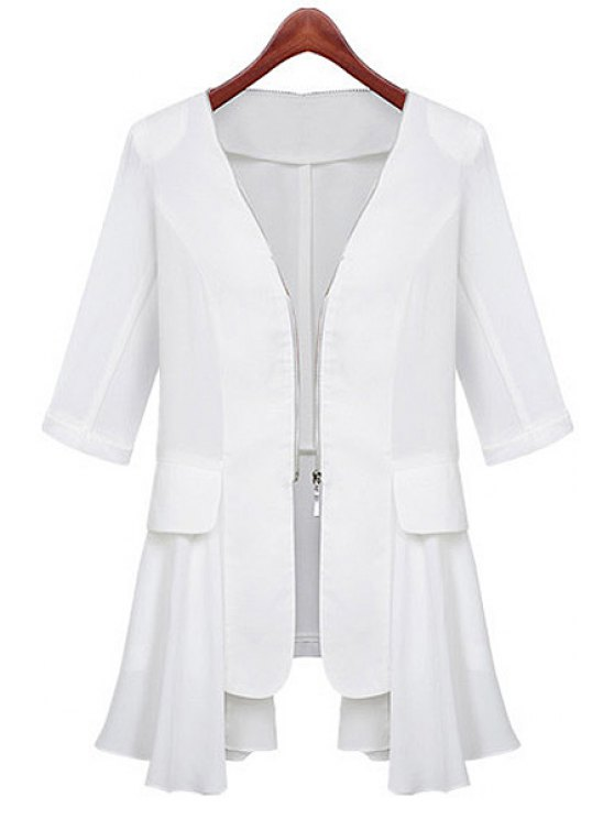 shop Half Sleeve Chiffon Splicing Coat - WHITE S