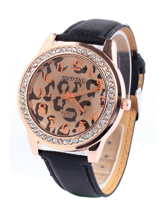shops Irregular Print Rhinestoned Watch - BLACK