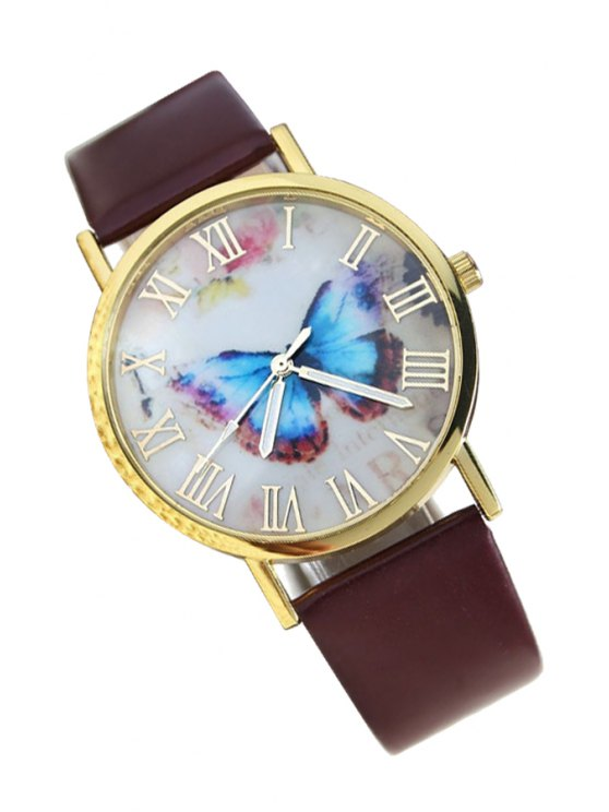 shops Vintage Butterfly Print Watch - BROWN