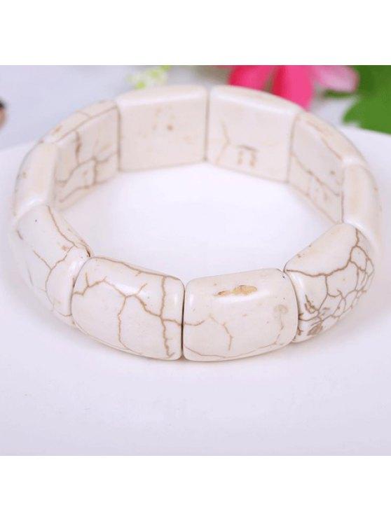 ladies Chic Kallaite Decorated Square Beads Bracelet - IVORY WHITE