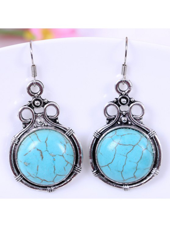 women Pair of Retro Round-Shaped Turquoise Drop Earrings For Women - LAKE BLUE