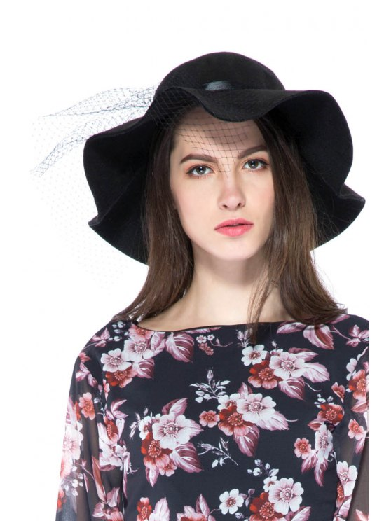 chic Solid Color Veil Felt Hat - AS THE PICTURE S