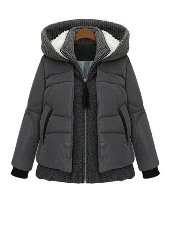 women's Knit Splicing Hooded Coat - DEEP GRAY L