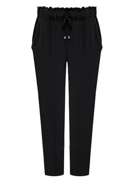 shops Drawstring Solid Color Pants - BLACK 2XL
