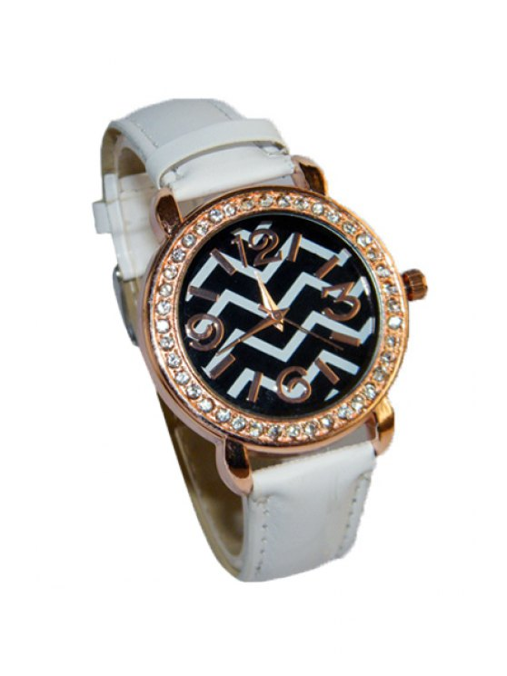 outfits Wave Pattern Rhinestoned Watch - WHITE