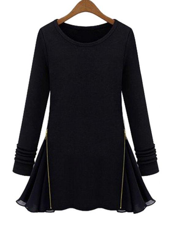 shops Chiffon Splicing Long Sleeves Knitwear - BLACK S
