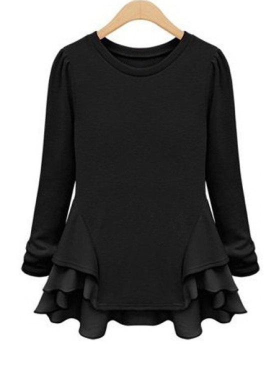 shops Chiffon Ruffles Splicing Knitwear - BLACK S