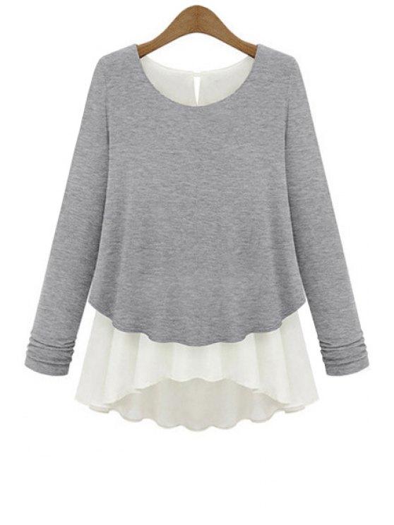 women Long Sleeve Chiffon Splicing Knitwear - LIGHT GRAY S