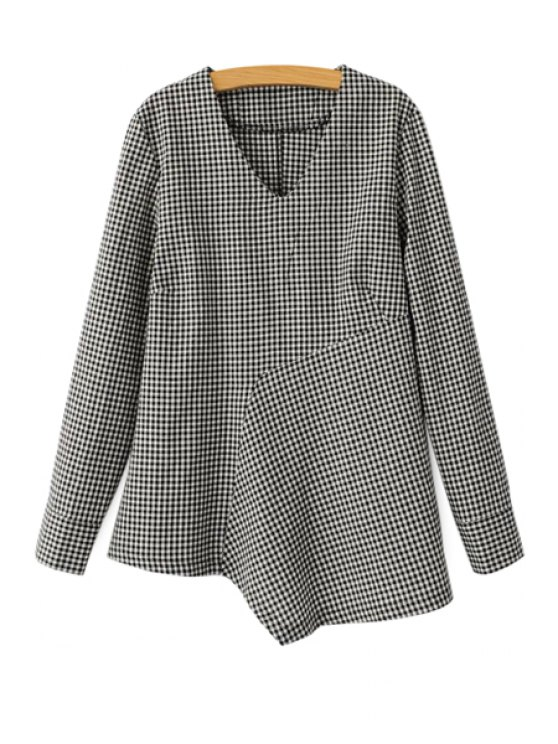 outfits Checked Irregular Hem Blouse - CHECKED S