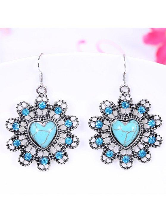 hot Pair of Retro Heart Turquoise Openwork Flower Design Drop Earrings For Women - LAKE BLUE