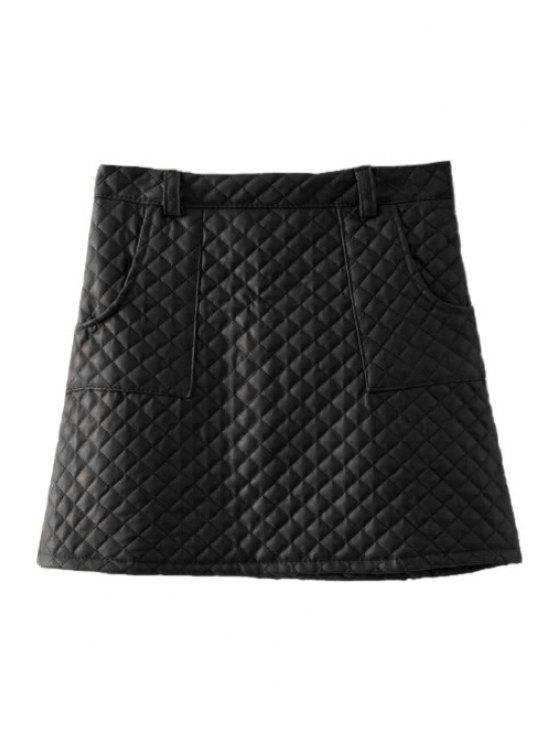online Argyle Pattern PU Leather Skirt - BLACK S