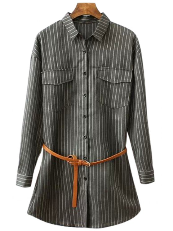 affordable Long Sleeve Striped Belt Shirt - STRIPE M