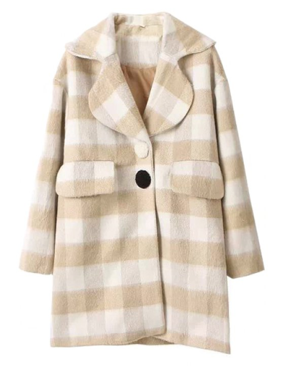 fashion Worsted Checked Pattern Coat - CHECKED S