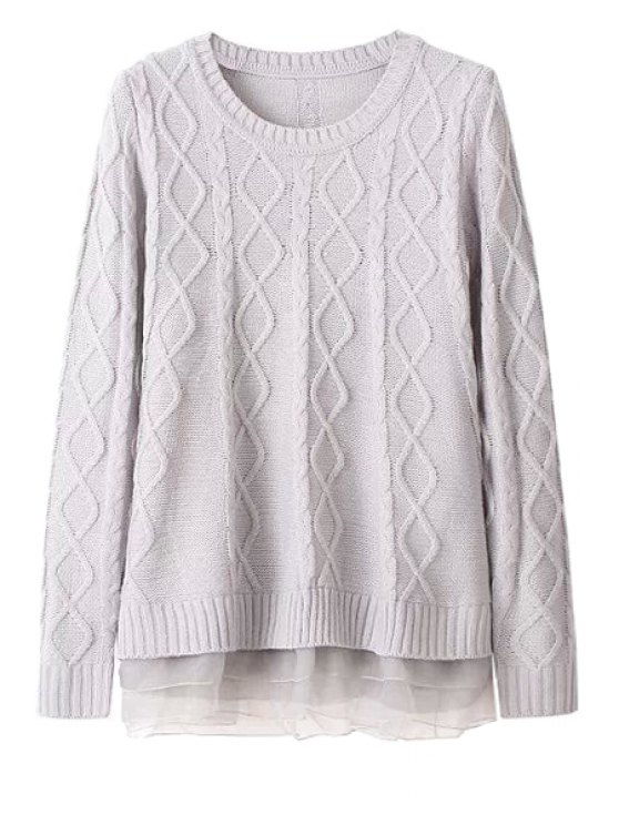 new Cable-Knit Voile Splicing Sweater - GRAY ONE SIZE(FIT SIZE XS TO M)