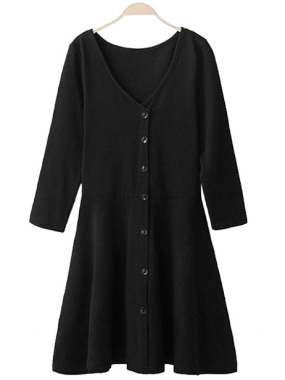 women 3/4 Sleeve Solid Color Dress - BLACK S