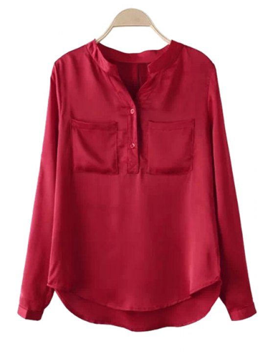 new Red Long Sleeve Pockets Shirt - RED S