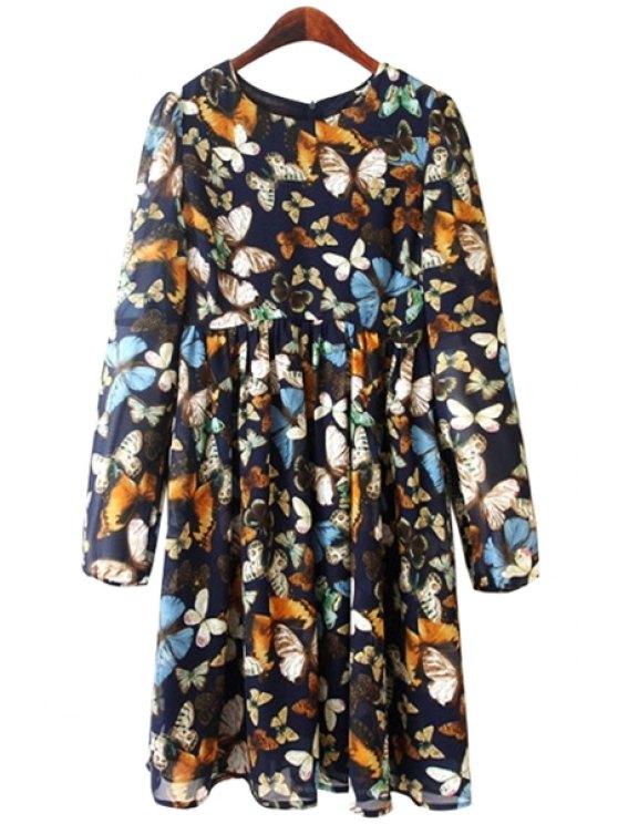 ladies Full Butterfly Print Long Sleeve Dress - PURPLISH BLUE S