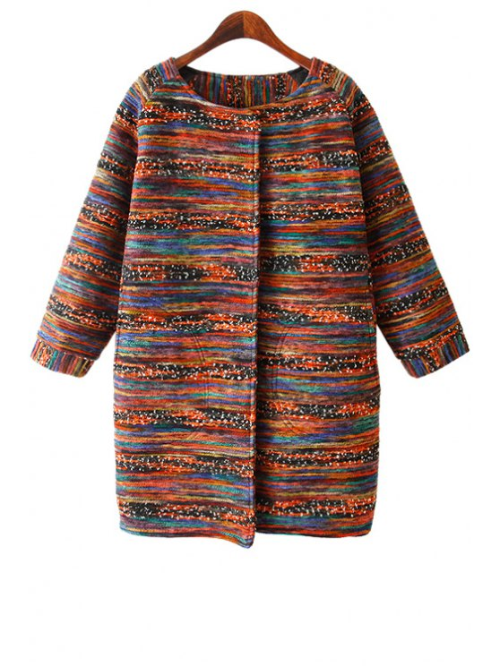 outfit Long Sleeve Color Mixed Coat - COLORFUL ONE SIZE(FIT SIZE XS TO M)