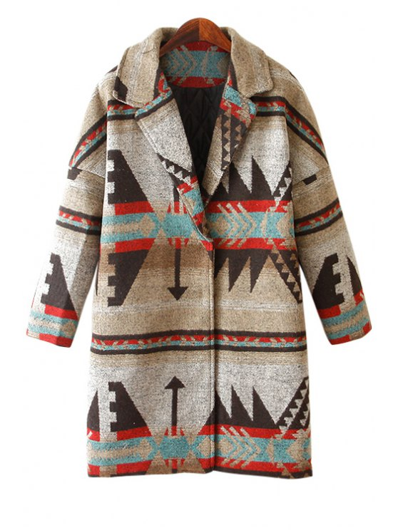 outfits Lapel Geometric Pattern Coat - GRAY ONE SIZE(FIT SIZE XS TO M)