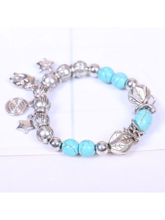 outfits Chic Women's Turquoise Embellished Star Dolphin Pendant Bracelet - SILVER AND BLUE