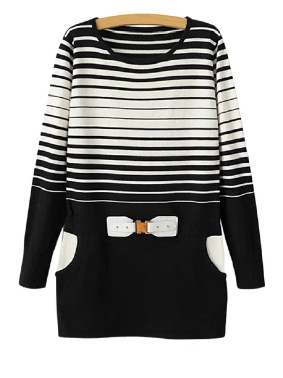 shops Striped Splicing Sweater Dress - WHITE ONE SIZE(FIT SIZE XS TO M)