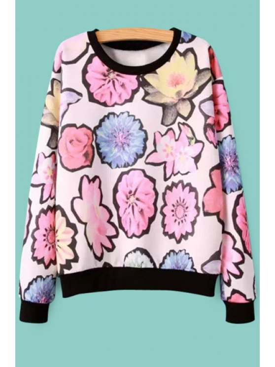 lady Long Sleeves Flower Print Sweatshirt - PINK S
