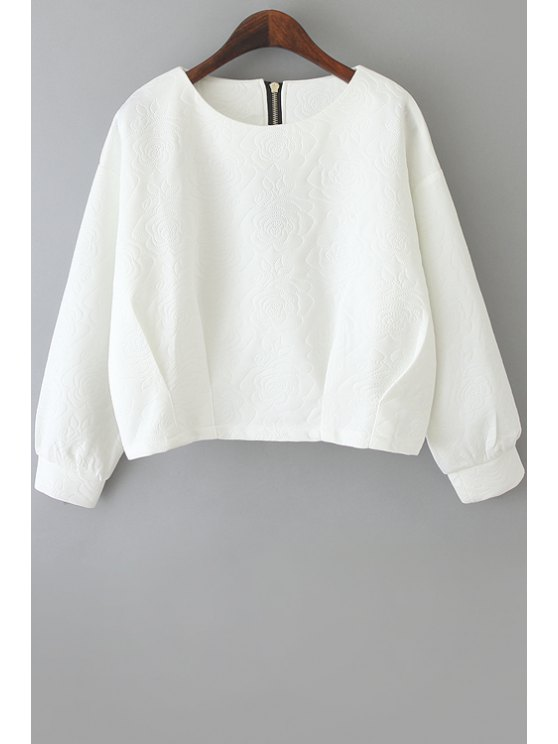 buy Long Sleeve Flower Pattern Sweatshirt - WHITE M