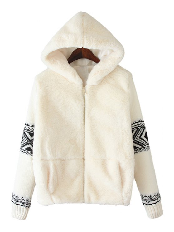 sale Hooded Ethnic Knit Splicing Coat - WHITE M
