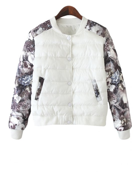 ladies Floral Print Splicing Jacket - WHITE M