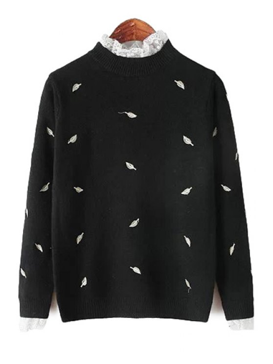 online Stand Collar Leaf Embroidery Sweater - BLACK ONE SIZE(FIT SIZE XS TO M)