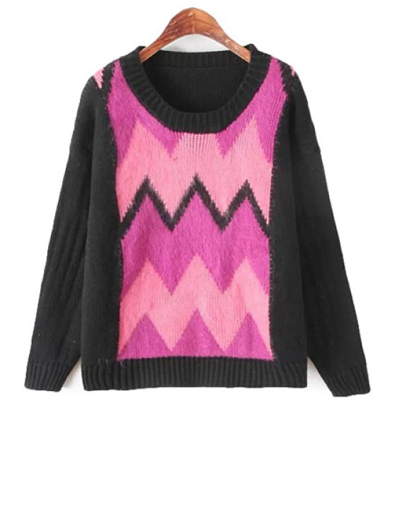 ladies Scoop Neck Color Block Sweater - BLACK AND PINK ONE SIZE(FIT SIZE XS TO M)