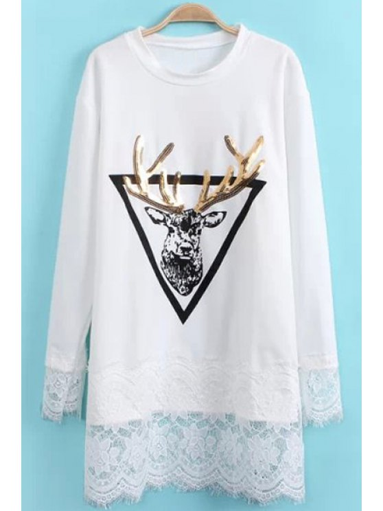 unique Deer Print Lace Splicing T-Shirt - WHITE ONE SIZE(FIT SIZE XS TO M)