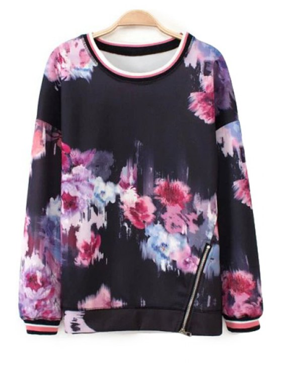 outfits Floral Zipper Design Sweatshirt - COLORMIX S
