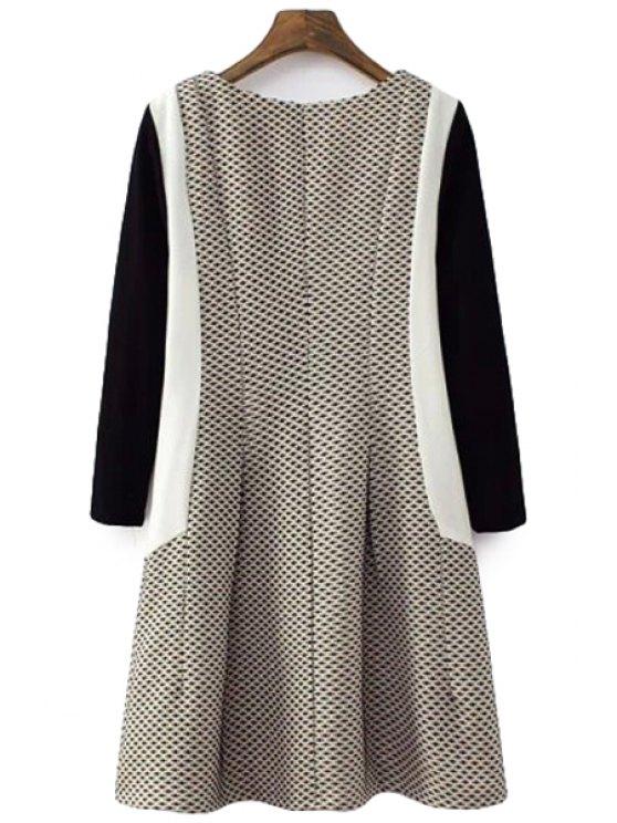 shop Color Block Long Sleeves Dress - COLORMIX S