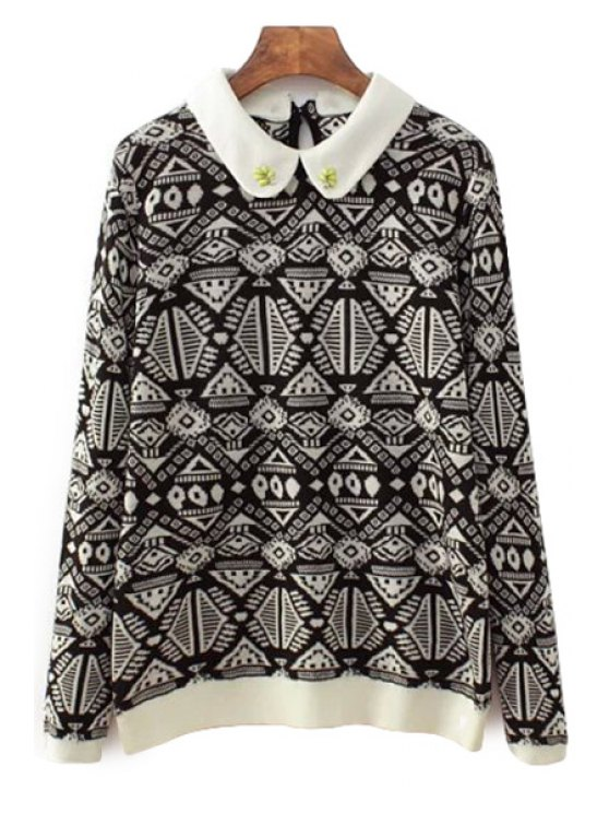 affordable Peter Pan Collar Geometric Pattern Sweater - BLACK S