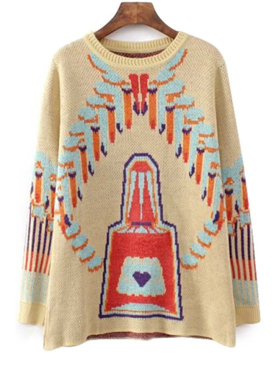 best Perfume Pattern Long Sleeve Sweater - YELLOW S