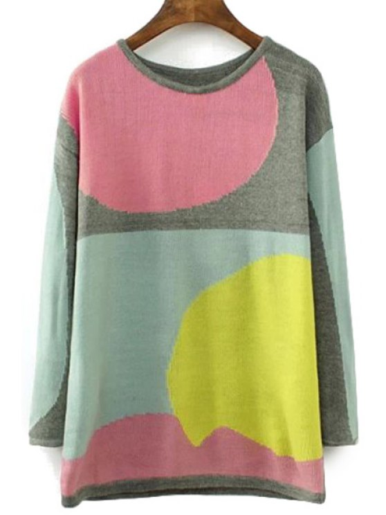 chic Color Block Jewel Neck Sweater - COLORMIX L