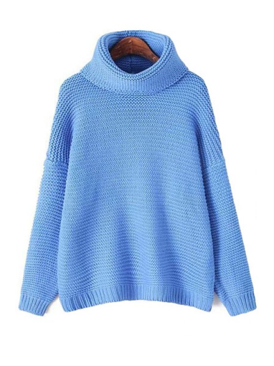 affordable Turtle Neck Blue Sweater - BLUE ONE SIZE(FIT SIZE XS TO M)