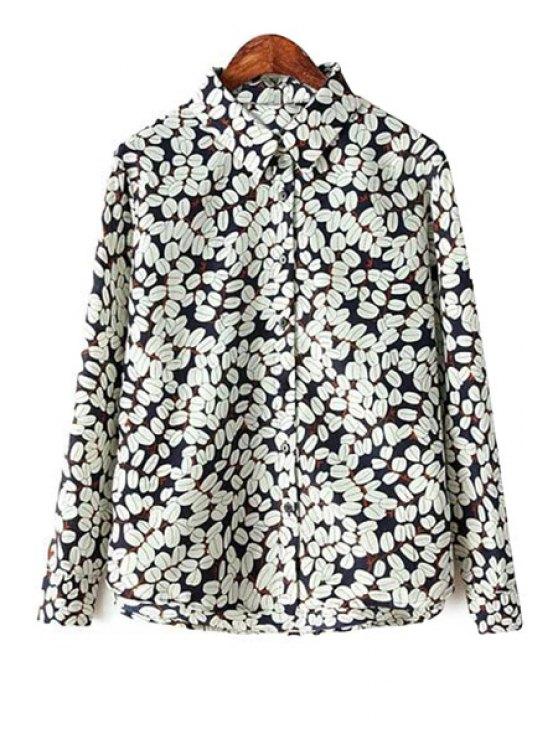 buy Shirt Collar Leaf Print Shirt - COLORMIX S
