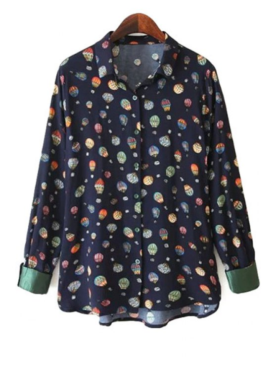 best Hot-Air Balloon Print Shirt - BLACK S