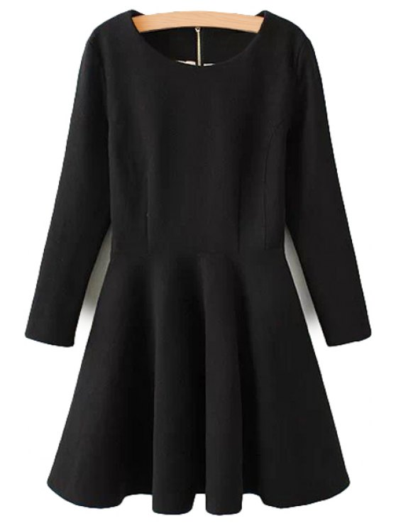 hot Long Sleeve Solid Color Dress - BLACK S