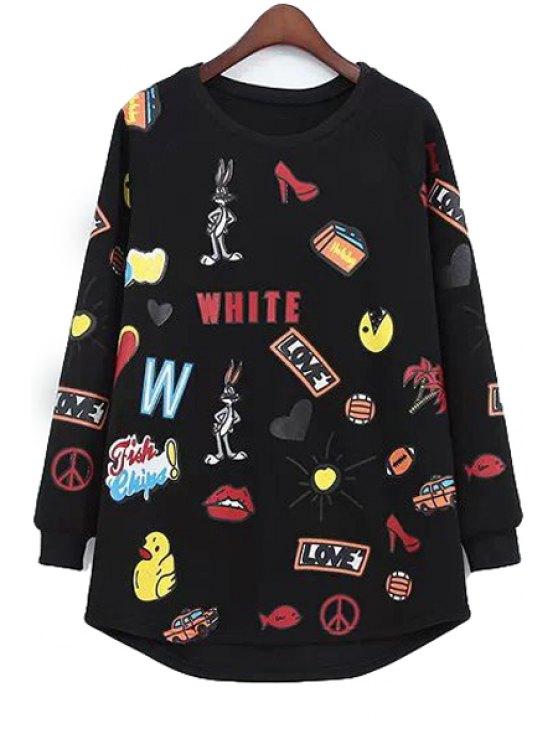 ladies Long Sleeves Cartoon Print Sweatshirt - BLACK ONE SIZE(FIT SIZE XS TO M)
