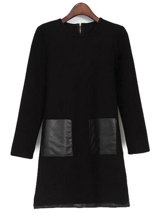 trendy PU Leather Pockets Dress - BLACK L