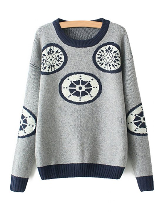 women's Geometric Pattern Scoop Neck Sweater - GRAY ONE SIZE(FIT SIZE XS TO M)