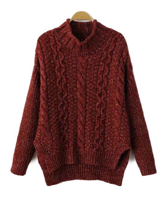 outfits Turtle Collar Cable-Knit Sweater - RED ONE SIZE(FIT SIZE XS TO M)
